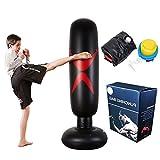 Saco de Boxeo autoestable de pie - Bolsas Perforadas for Trabajo Pesado con portaobjetos/Maniquí excelente for Boxeo/Kick Boxing/Equipo de Entrenamiento de Artes Marciales Mixtas/MMA